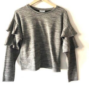 Bar III Gray Ruffle Sweater